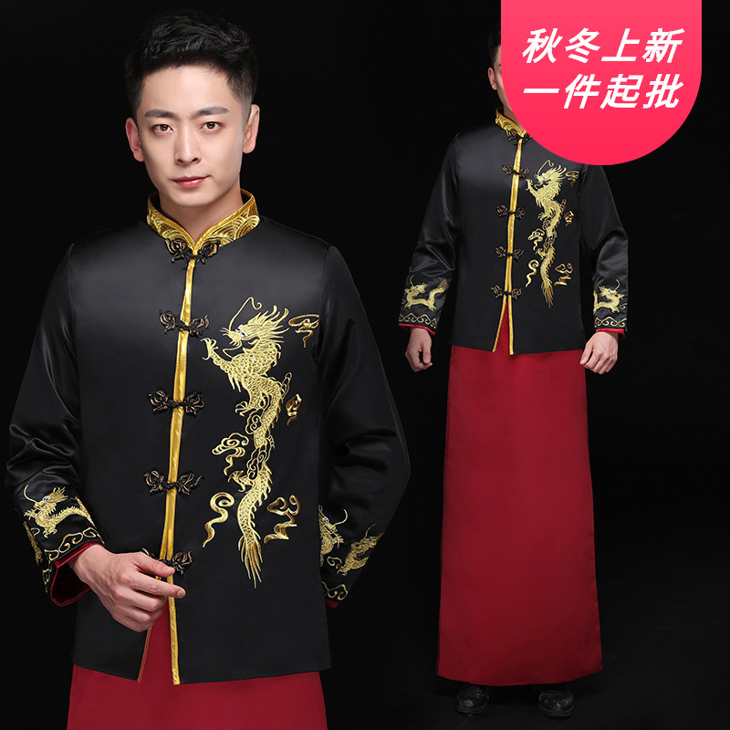 Mao Suit 2020 New Men's And Bridegroom's Chinese Style Dress Performance Ancient Costume Dragon Phoenix Jacket Tang Suit Man