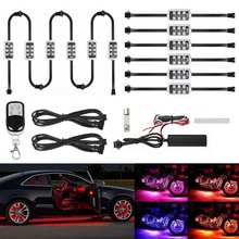 12 Pcs Car RGB LED Strip Light Kit Neon Interior Light Lamp Strip Decorative Atmosphere Lights Foot Lamp With Remote Control(China)