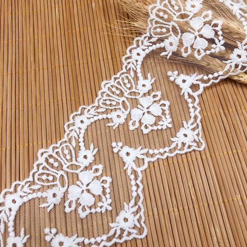 1Yards Milk silk embroidery lace net yarn fabric Trim Wedding dress Accessories