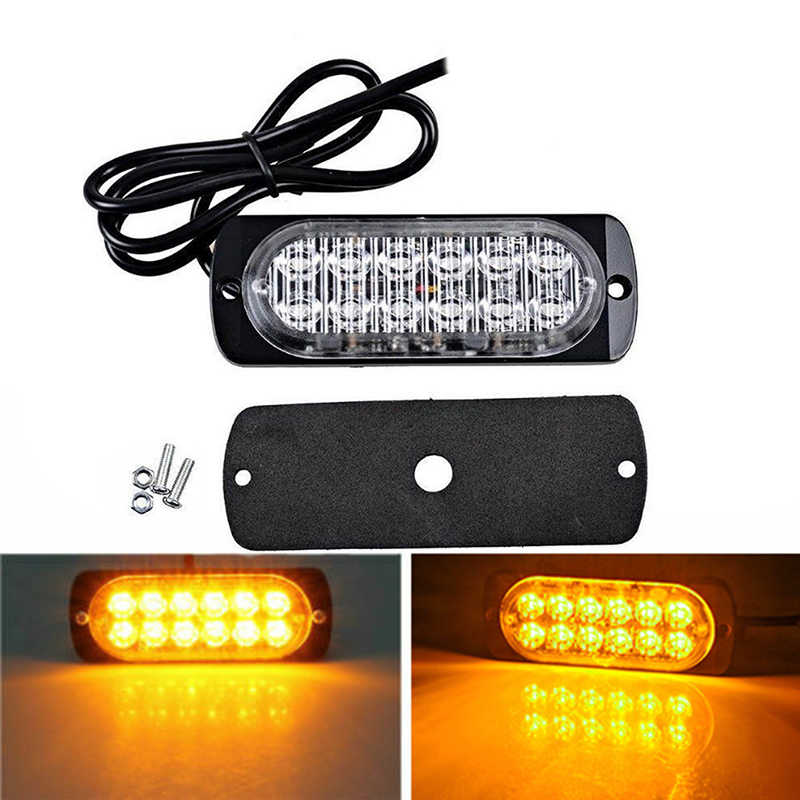 DC 12V-24V 36W Yellow 12 LEDs Plastic Car Truck Beacon Warning Safety Hazard Light Super Bright LED Light