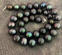 stunning 11 12mm round tahitian black green pearl necklace 18inch