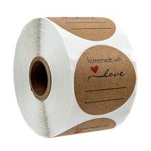 Autocollants Love faits maison avec des lignes pour écrire, étiquettes rondes faites à la main, boîte d'emballage en conserve, 1 pouce, 500 pièces par rouleau