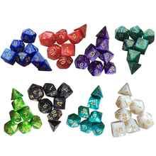 7 unids/set poliedro D & D dados con efecto marmolado D4 D6 D8 D10 D10 % D12 D20Games dados Irregular dados por DND de mesa juegos RPG