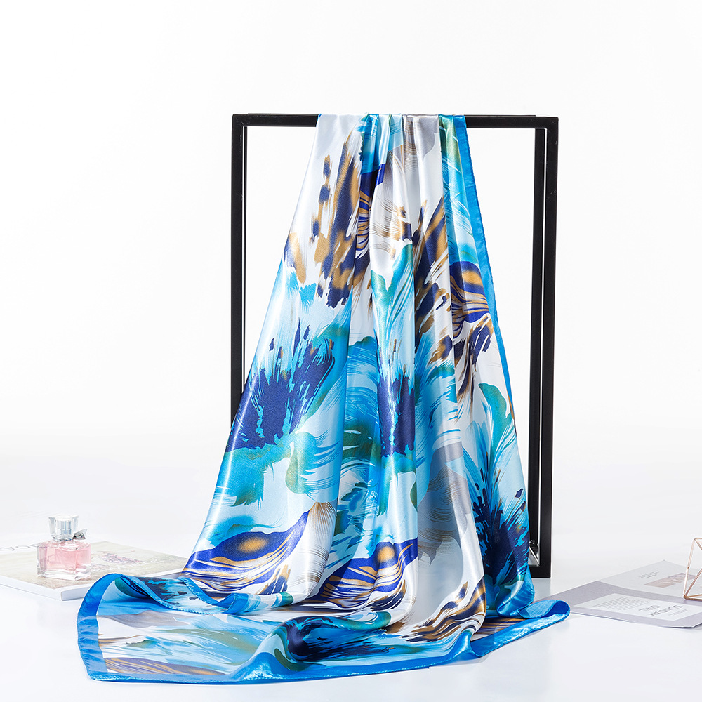 New Foreign Trade Color Ding Dafang Scarf 90cm Graffiti Printing Silk Scarves Selling Amazon Explosions Scarf