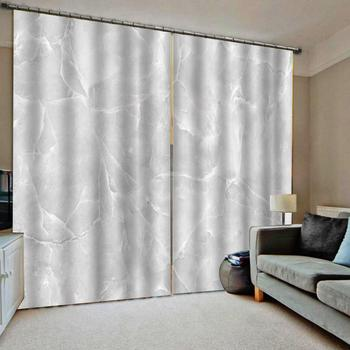 European Luxury Curtains White marble Curtains Design Living Room Bedroom Blackout Curtain Drapes Custom ready made Curtains