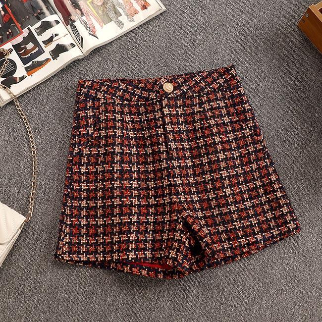 2 pezzi Nuovo Autunno Inverno Piccolo Profumo di Tweed Lungo Cappotto + shorts Vestito A due pezzi per le Donne di Temperamento Abiti femme Set - 3