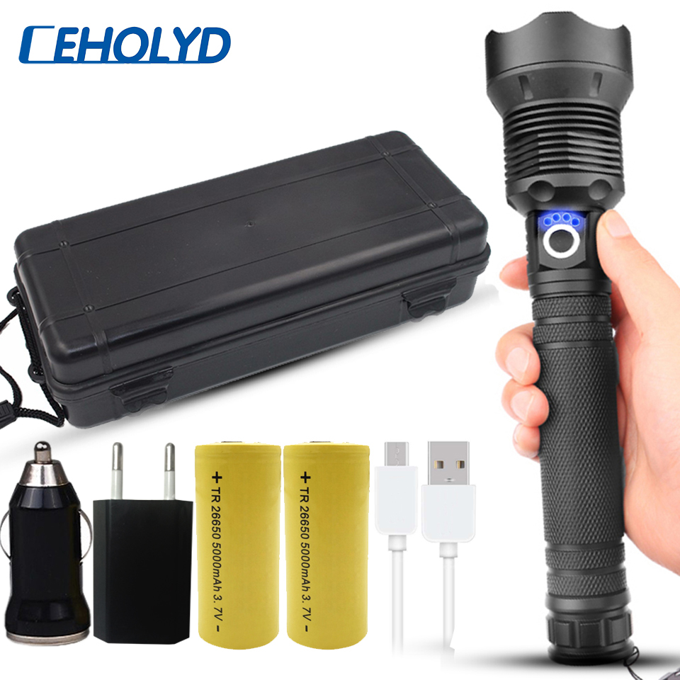50000 Lumens XLamp Xhp70.2 Most Powerful Led Flashlight Usb Zoom Torch Xhp70 Xhp50 18650 26650 Rechargeable Battery Flashlight