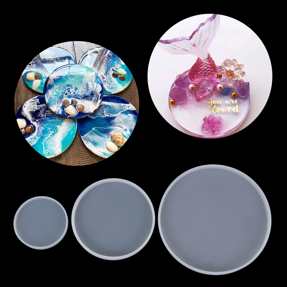 2Pcs Silicone Mold Mixed Resin Casting Mould for DIY Coaster Jewelry Making