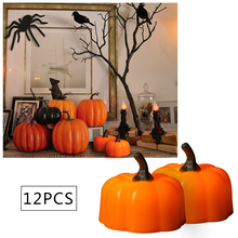 12 Pcs Battery Operated Halloween Pumpkin Light Flickering LED Flameless Candle Special Party Garden Home Decoration