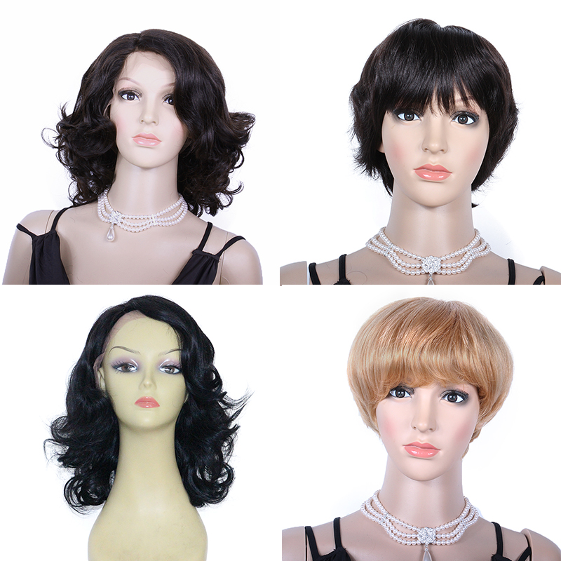 Short Human Hair Wigs #60 Blonde Lace Front Wig Short Wavy Machine Made Wigs Brazilian Remy Pre Plucked For Fashion WoWEbony