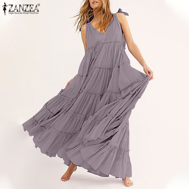 v neck mid calf bohemian loose layered look dress, knotted shoulder accent 1
