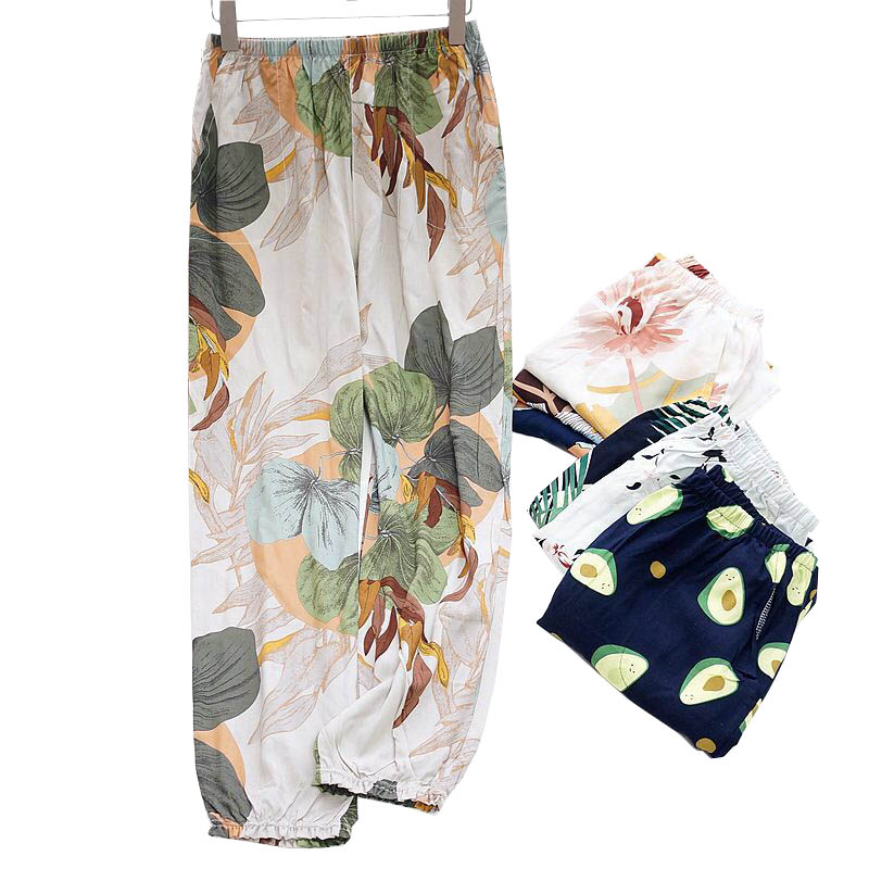 Bright Floral Leaves Printed Sleep Bottoms Women Loose Thin Cotton Satin Summer Air Conditioned Pants Ladies Soft Homewear Pants