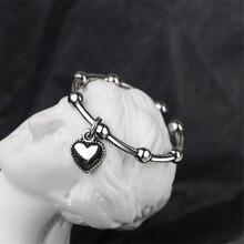 Anillo de plata de primera ley con forma de corazón para mujer, sortija, plata esterlina, estilo gótico, Vintage, chapado en plata, estilo africano