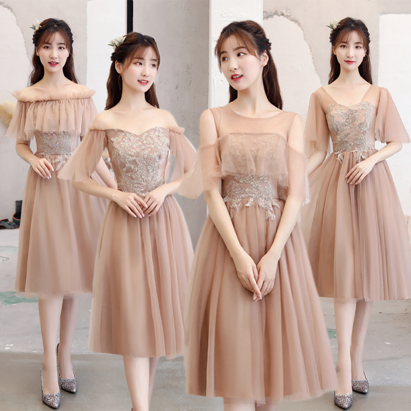Burgundy Bridesmaid Dresses Wedding Guest Elegant Tea-Length Tulle Brown Formal Plus Size Sexy Proom Special Occasion Dress