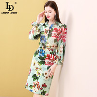 LD LINDA DELLA Summer Fashion Runway Skirt Suit Women's Sets Multicolor Floral Print Silk Top and Midi Skirts 2 Two Pieces Set