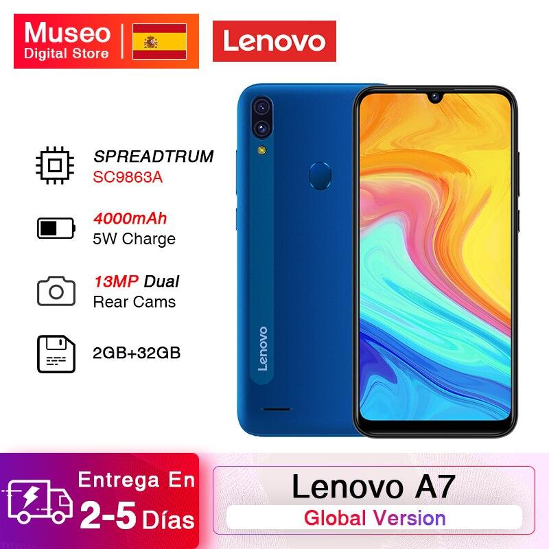 Global Version Lenovo A7 Smartphone SPREADTRUM SC9863A Octa Core 2GB 32GB 6.09'' HD Screen 4000mAh 13MP AI Dual Camera CellPhone