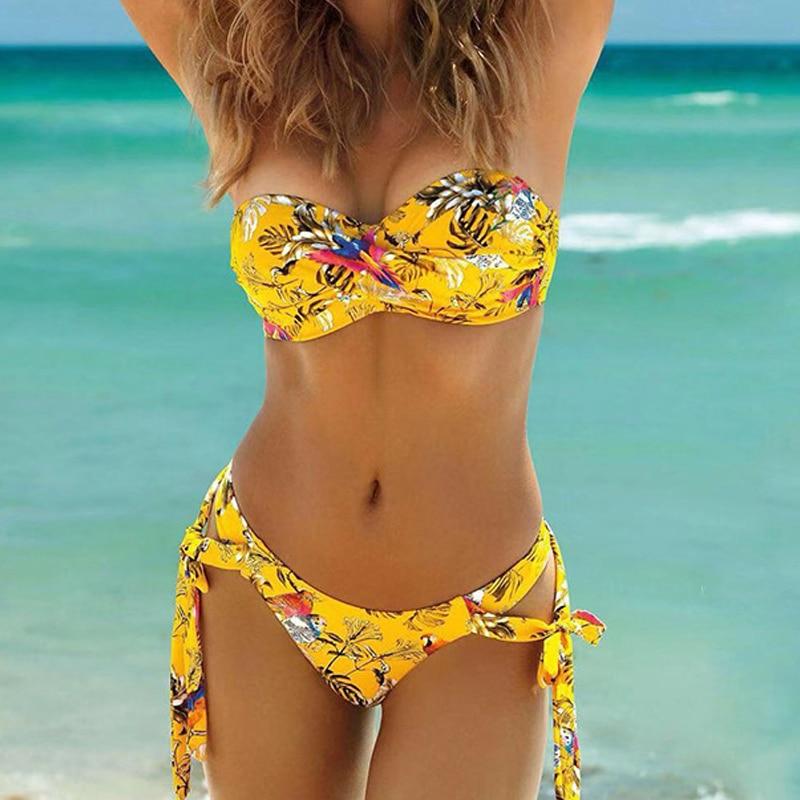 Floral Print Bikini Female Swimswear Bandeau Biquini Bandage Swimsuit Women Bathing Suit Push Up Bikini Set Sexy Bikinis 2020