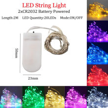 2M 20 LED Copper Wire Fairy Garland Lamp LED String Lights Christmas Wedding Home Party Decoration Powered By CR2032 Battery(China)