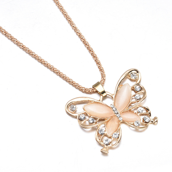 2019 New Fashion Rose Golden Butterfly Chokers Necklaces Cat Eye Stone Long Necklace Women Jewelry Wholesale 5