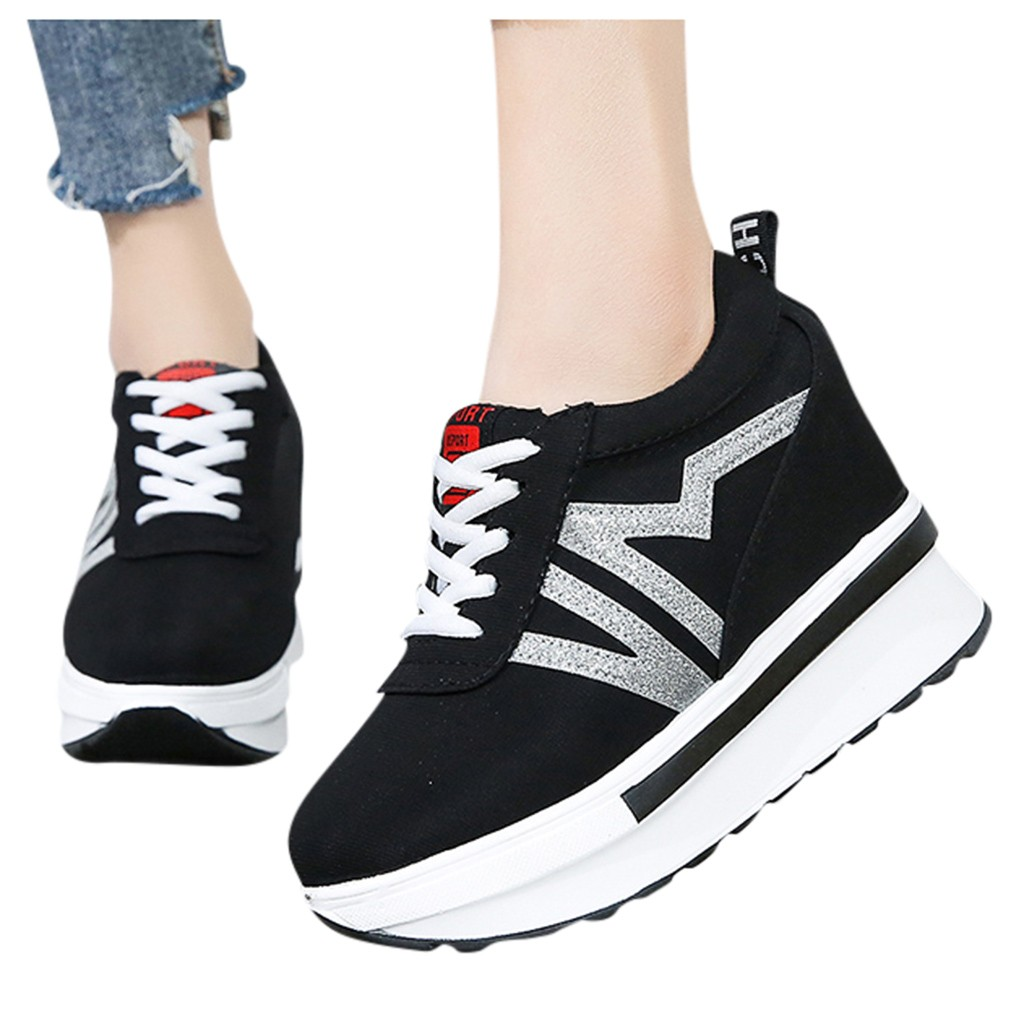 SAGACE Height Increase Shoes Women Outdoor Sport Sneakers Wedges Shoes Ladies Canvas Sport Shoes Platform Increase Shoes|Women's Vulcanize Shoes| - AliExpress