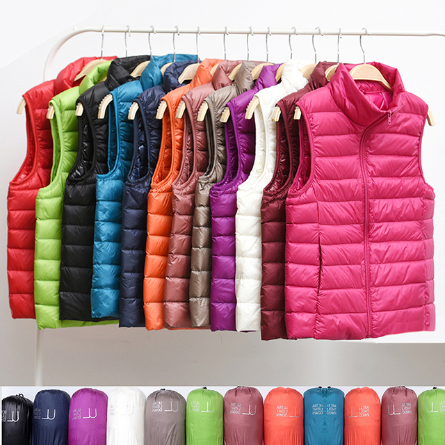 New Women Sleeveless Women's Ultra Light Down Vests Slim Jacket Girl Gilet Plus Lightweight Windproof Warm Waistcoat Portable 1