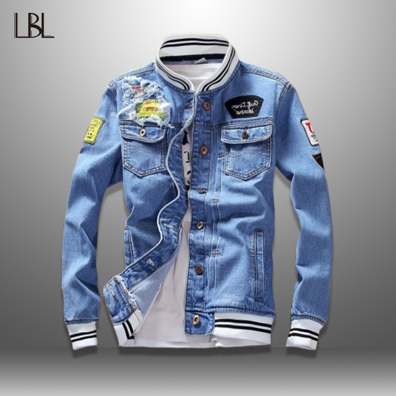 LBL Denim Jacket Men Autumn Fashion Cool Trendy Mens Jean Jackets Spring Casual Coat Outwear Stand Collar Motorcycle Cowboy 2020