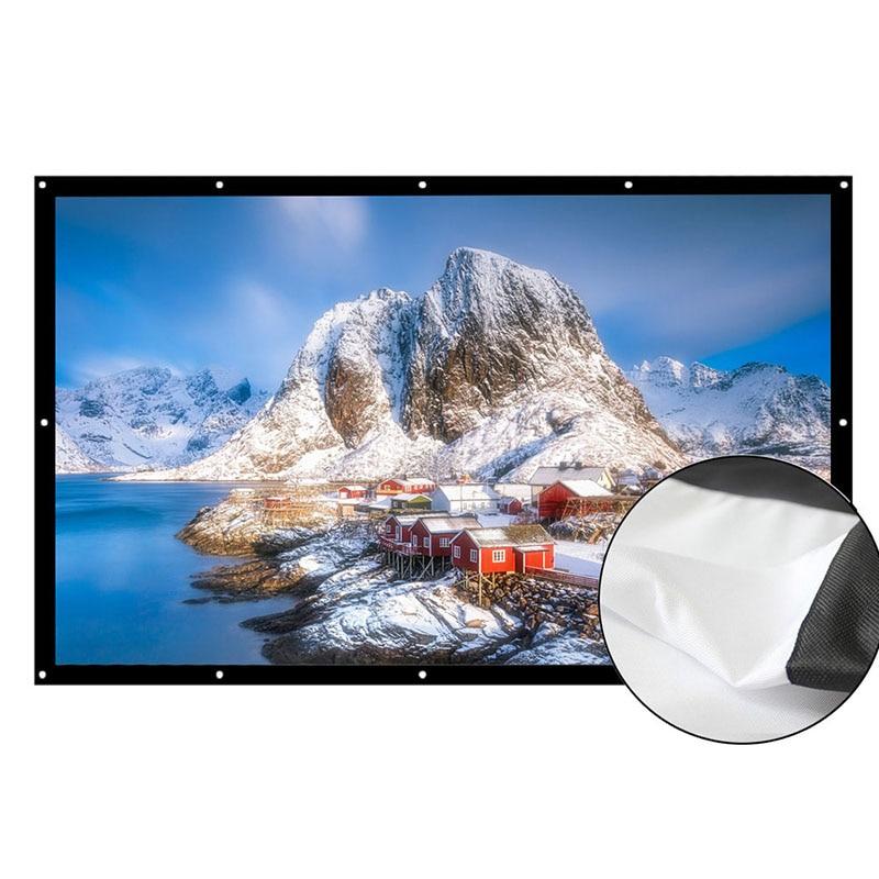 AAO 169 pantalla del proyector 180 200 250 300 pulgadas HD blanco mate Anti-pliegue pantalla de proyección montado en la pared Home Theater lienzo grande
