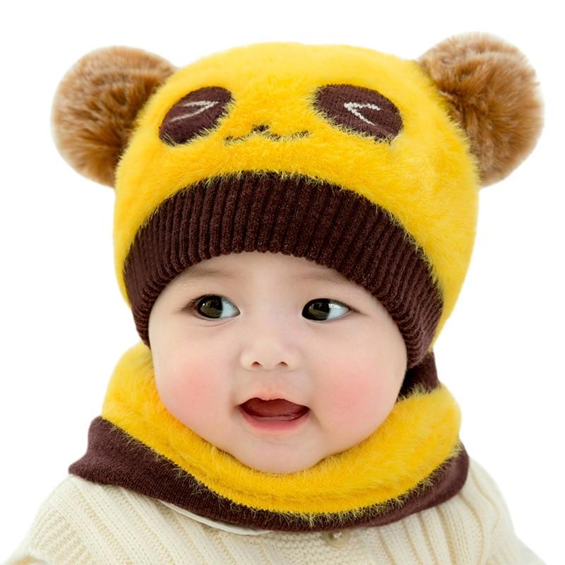 2 Pcs Hat And Scarf Set Cap Cartoon  Chimney Warm Baby Knit Hat Boy Girl Hat Scarf Winter Accessories Beanie  0-3 Years