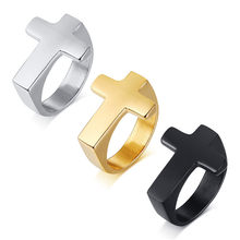 Titanium cross ring for men boy friend gold silver black tone simple cool fashion accessory Christmas gift sizes 8,9,10,11,12(China)
