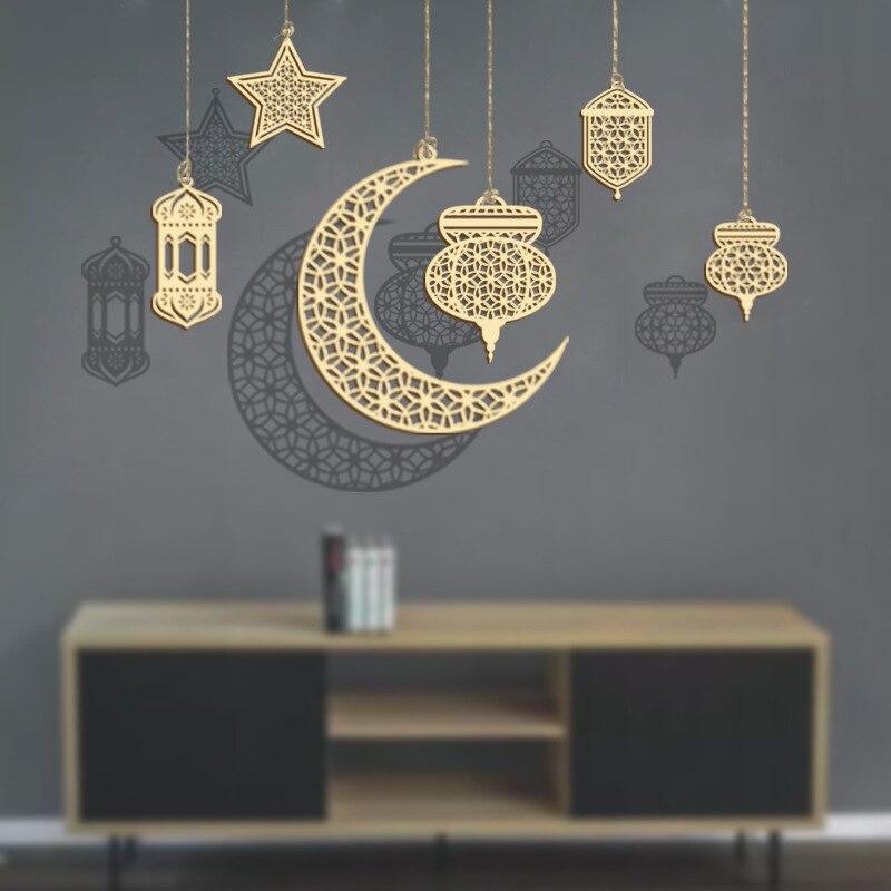 Рамадан украшения деревянный подвесной ИД Мубарак Декор для дома исламский мусульманский вечерние поставки Курбан-подарок