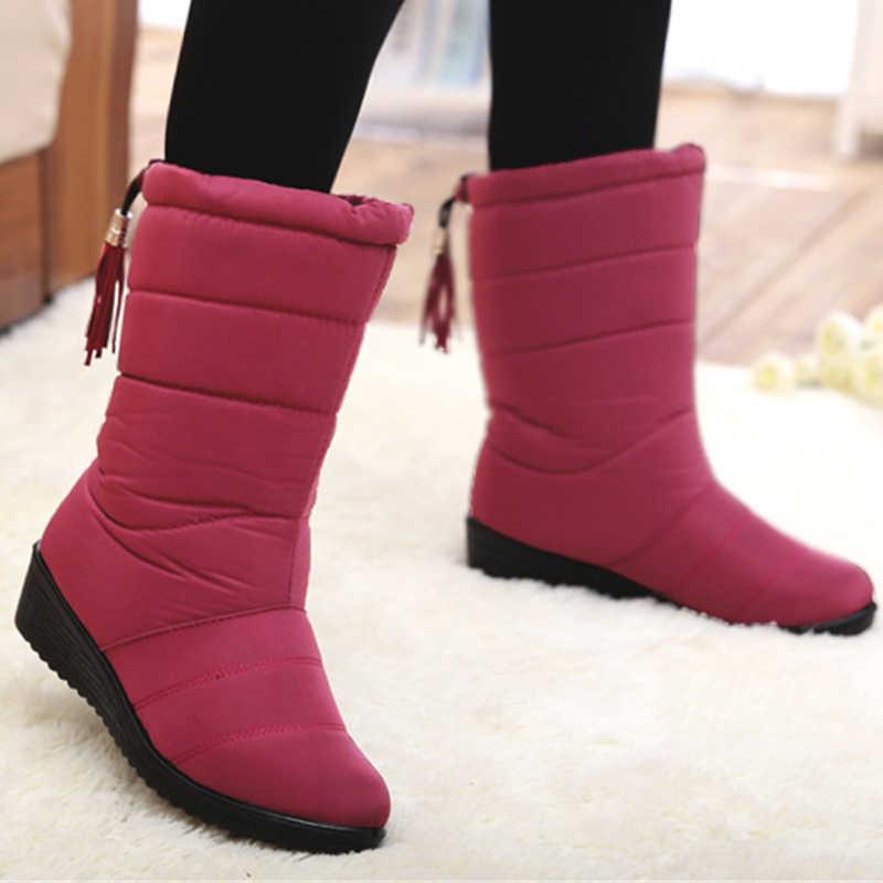 Baru Wanita Sepatu Wanita Sepatu Bot Musim Dingin Tahan Air Turun Gadis Pergelangan Kaki Sepatu Bot Salju Sepatu Wanita Sepatu Wanita Hangat Bulu Pasang Kaos Mujer