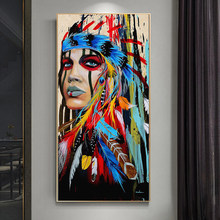 Colourful Indian Woman Girl with Feather Canvas Painting Posters and Prints Wall Art Pictures for Living Room Wall Decor Cuadros