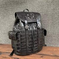 Authentic Crocodile Skin Drawstring Closure Male Black Casual Backpack Genuine Alligator Leather Men's Large Travel Bag Pack