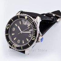Часы мужские 41MM movimento Gaivota mostrador preto estéril Luminous relogio a prova de agua automático mecânica relógios de pulso dos homens