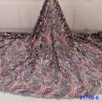 wholesale price 5yards high quality African sequins lace fabric shining French net lace fabric for making party dress