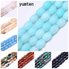 Yumten Oval Aquamarine Bead 10mm*14mm Natural Stone Loose Beads Rose Quartz Topaz DIY Jewelry Necklace