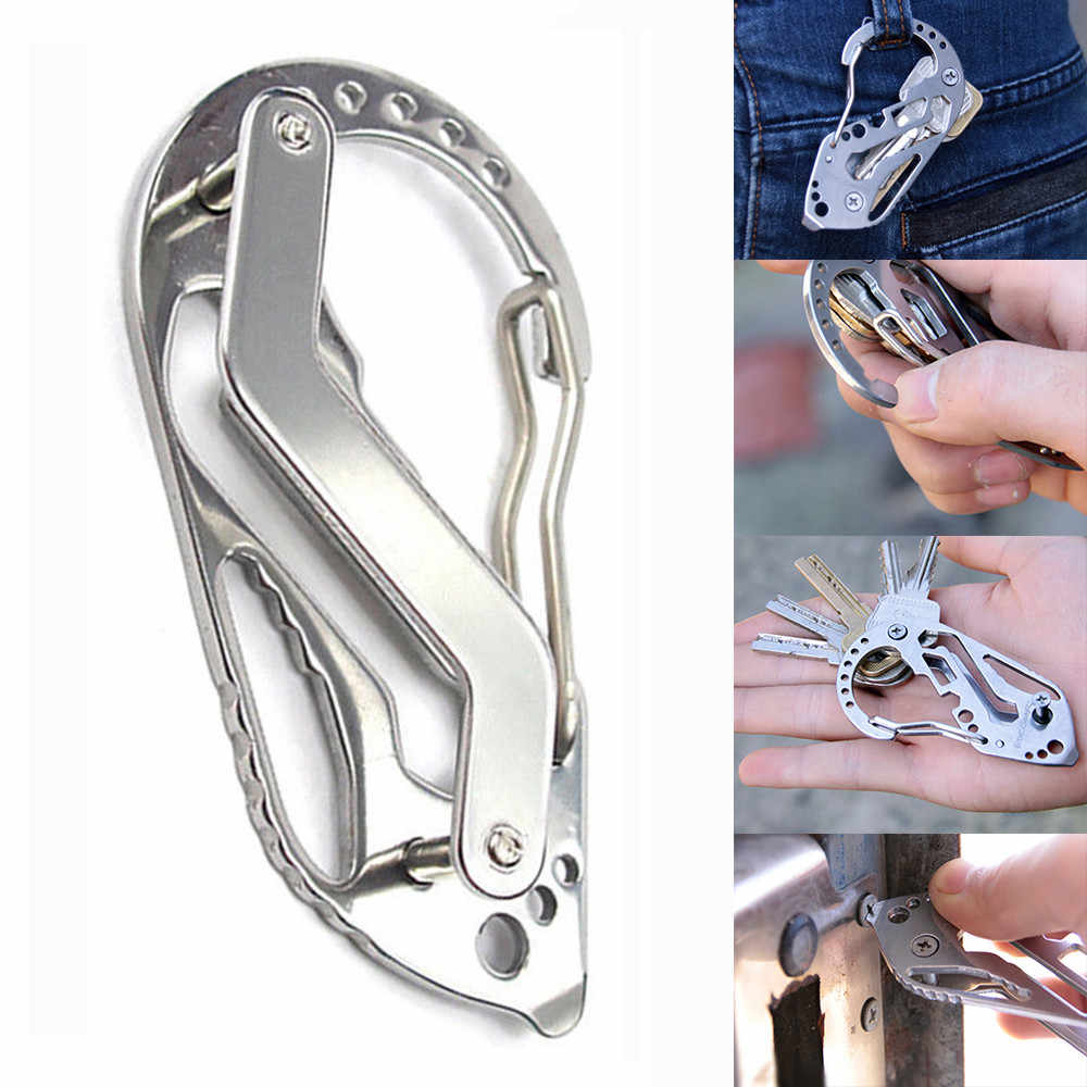 Stainless Steel Carabiner Key Chain Clip Camping Keyring Bottle Opener Tools
