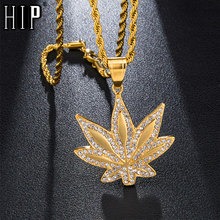 HIP Hop Bling Iced Out Maple Leaf Micro Paved Rhinestone Stainless Steel Pendants & Necklaces for Men Jewelry