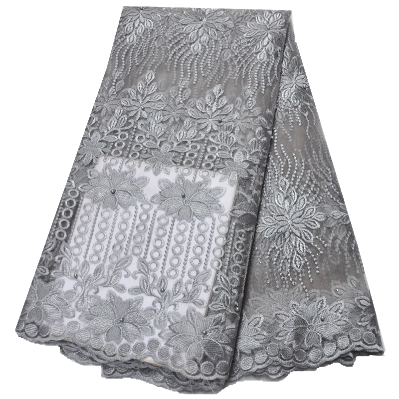 latest gray african lace fabric 2021high quality lace net tulle tissue french lace fabric african fabric with stones
