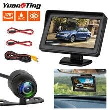 """YuanTing водостойкая камера заднего вида ночного видения с направляющими линиями и 4,"""" ЖК-дисплей монитор системы комплект для автомобиля"""