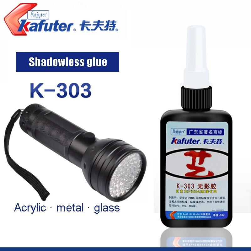 Kafuter 50ml K-303 UV Glue Acrylic Transparent Adhesive UV Curing Adhesive And Glass Adhesive With 9/51LED UV Flashlight