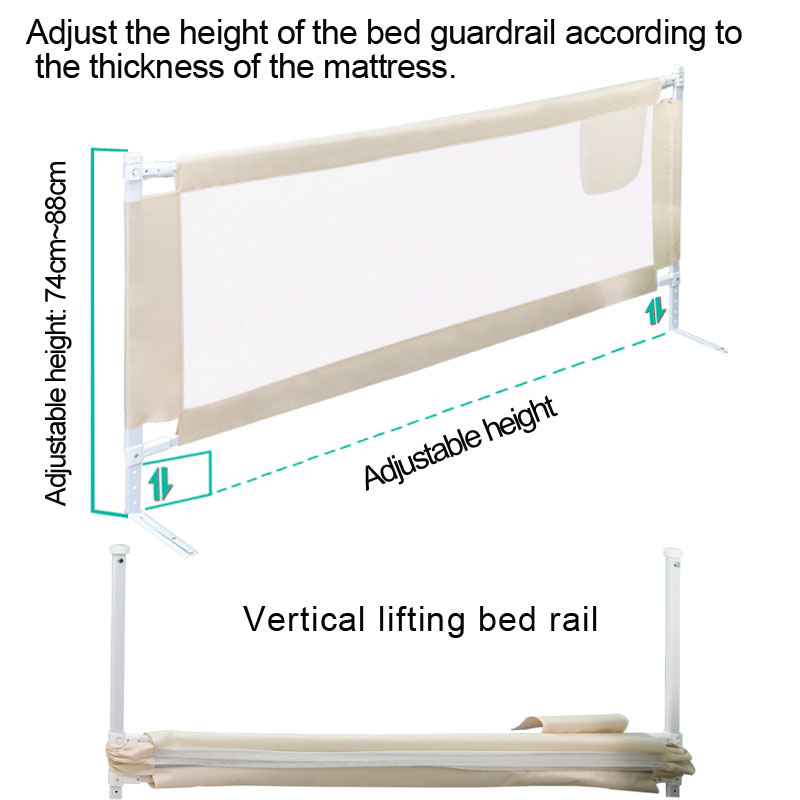 Height Adjustable Baby Gate for Bed with Rails to Protect Newborns and infants From Falling 4