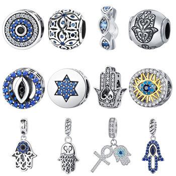 BISAER 925 srebro niebieskie kryształy oczy okrągły koralik Fatima Hamsa Hand Charms dopasowany wisiorek srebrny 925 oryginalna bransoletka biżuteria tanie i dobre opinie CN (pochodzenie) ----- Cyrkon ECC092 GDTC Okrągły kształt SILVER S925 100 925 Sterling Silver if not full refund!