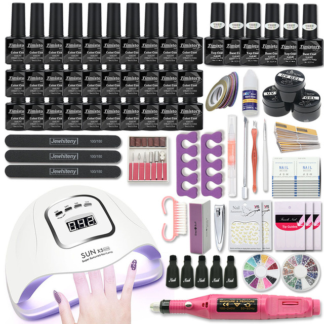 Manicure Set Nail Kit 120W/80W/54W UV Lamp With 30/20 Colors Nail Gel Polish Kit Nail Art Tools Set Nail File Top Base Coat 1