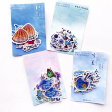 40pcs/pack Cute Whale Flowers Festival Series Summer Items Gold Foiled Decor Stickers Washi Stickers Album Hand Account Decor