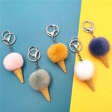 Bag Charms Jewelry Key-Chain Trinket Ice-Cream Mini Cute Women Pom-Pom Mink-Fur Bulk