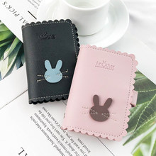 JANE'S LEATHER Cute Rabbit Women 24 Slots Card Holder Case Bags Wallet High Quality Passport Cover For Femme Carteira Mujer 2019(China)