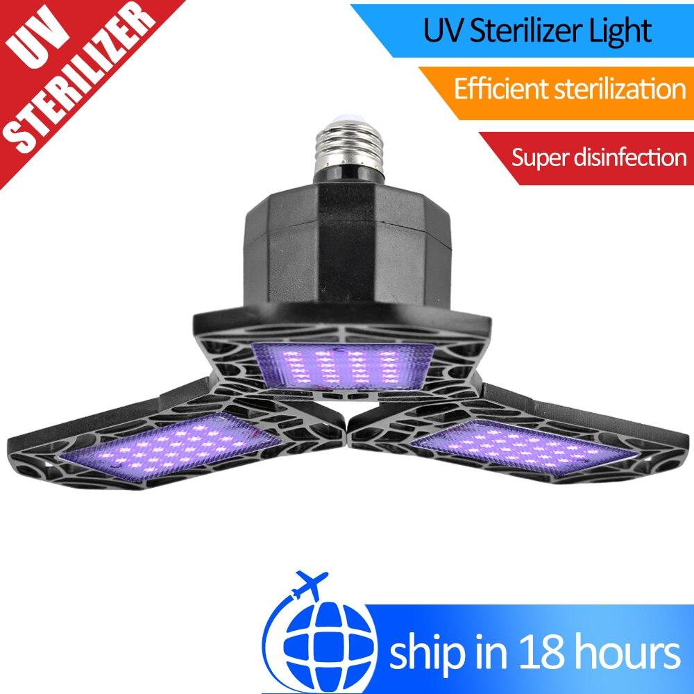 72 LED Garage UV Disinfection Ceiling Lamp 360 Degree Adjustable Kill Bacterial Mite Germicidal Ultraviolet Sterilizer Light