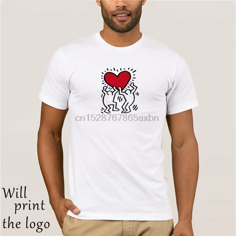 Keith Haring Heart T Shirt - New York City Pop Street Art Valentines Day Funny Tee Shirt Hipster Summerv