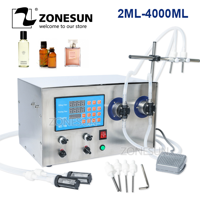 ZONESUN Double Head Magnetic Pump Beverage Perfume Juice Essential Oil Alcohol Hydrogen Peroxide Liquid Bottle Filling Machine
